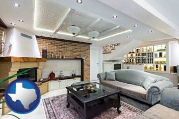 a living room in a luxury apartment with Texas map icon