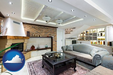 a living room in a luxury apartment with Virginia map icon