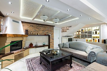 a living room in a luxury apartment