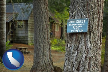 rental cabins with California map icon