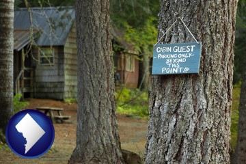 rental cabins with Washington, DC map icon
