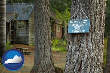 rental cabins with Kentucky map icon