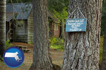 rental cabins with Massachusetts map icon
