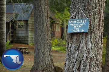 rental cabins with Maryland map icon