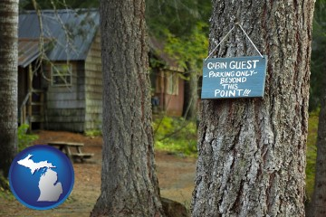 rental cabins with Michigan map icon