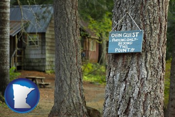 rental cabins with Minnesota map icon