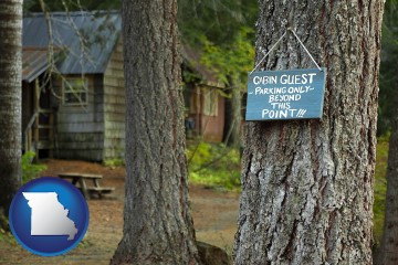 rental cabins with Missouri map icon