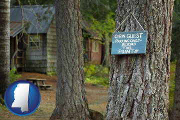 rental cabins with Mississippi map icon