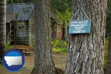 rental cabins with Montana map icon