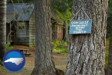 rental cabins with North Carolina map icon