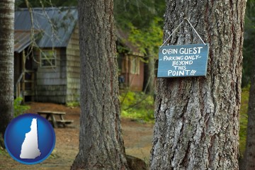 rental cabins with New Hampshire map icon