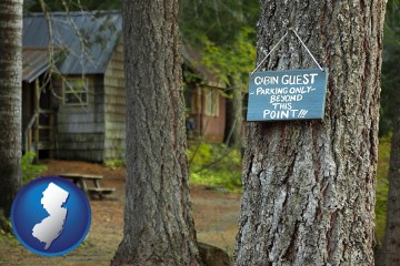 rental cabins with New Jersey map icon