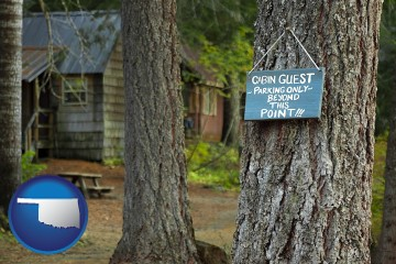 rental cabins with Oklahoma map icon