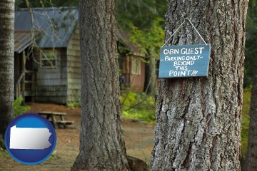 rental cabins with Pennsylvania map icon