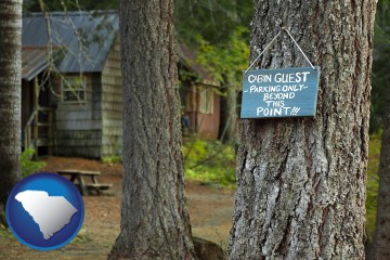 rental cabins with South Carolina map icon