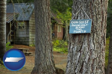 rental cabins with Tennessee map icon