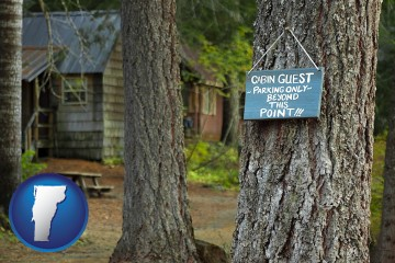 rental cabins with Vermont map icon