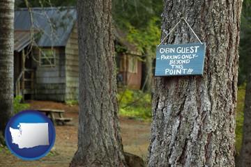 rental cabins with Washington map icon