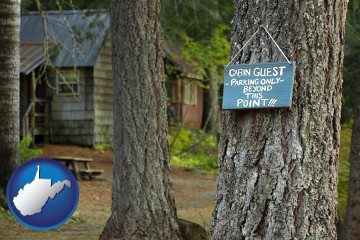 rental cabins with West Virginia map icon