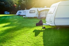rv park with a well-tended lawn