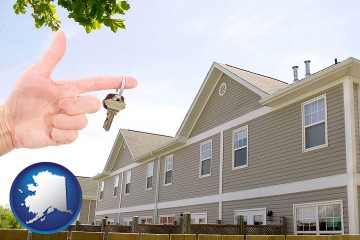 condominiums and a condo key with Alaska map icon