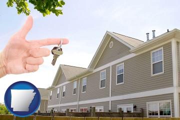 condominiums and a condo key with Arkansas map icon