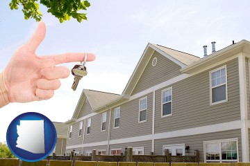 condominiums and a condo key with Arizona map icon