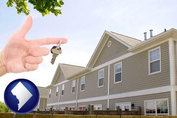 condominiums and a condo key with Washington, DC map icon