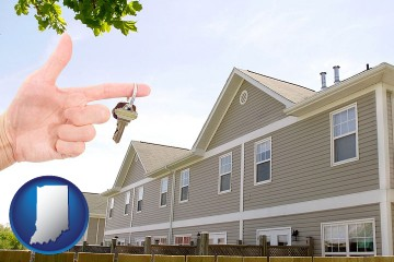 condominiums and a condo key with Indiana map icon
