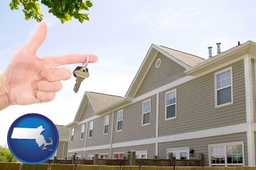 condominiums and a condo key with Massachusetts map icon
