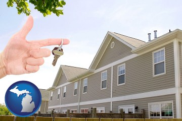 condominiums and a condo key with Michigan map icon