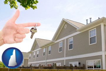 condominiums and a condo key with New Hampshire map icon