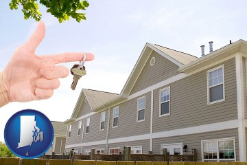 condominiums and a condo key with Rhode Island map icon