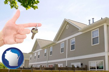 condominiums and a condo key with Wisconsin map icon