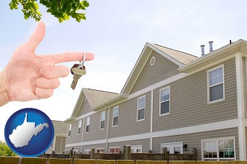 condominiums and a condo key with West Virginia map icon
