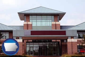 a condominium office building with Iowa map icon