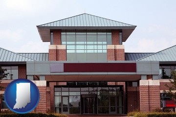 a condominium office building with Indiana map icon