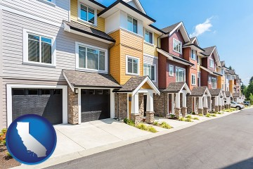 a row of townhouses with California map icon