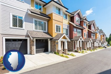 a row of townhouses with Illinois map icon