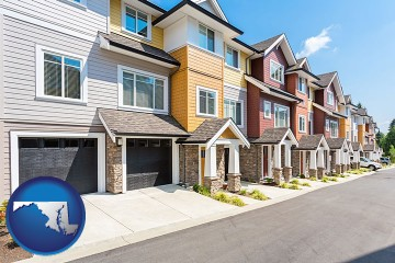 a row of townhouses with Maryland map icon