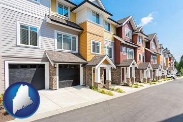 a row of townhouses with Maine map icon