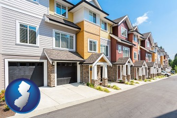 a row of townhouses with New Jersey map icon