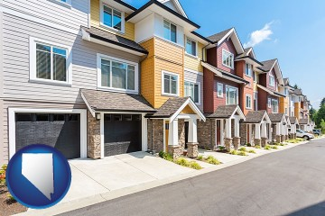 a row of townhouses with Nevada map icon