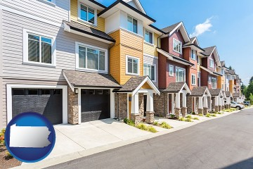 a row of townhouses with Pennsylvania map icon
