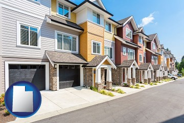 a row of townhouses with Utah map icon