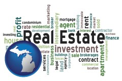 Michigan real estate concept words