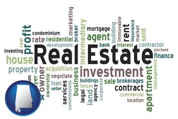 real estate concept words with Alabama map icon