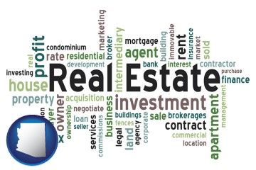 real estate concept words with Arizona map icon