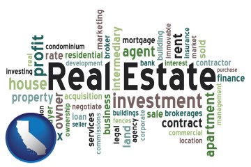 real estate concept words with California map icon