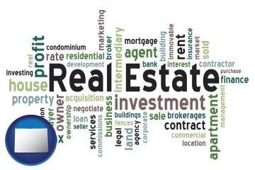real estate concept words with Colorado map icon
